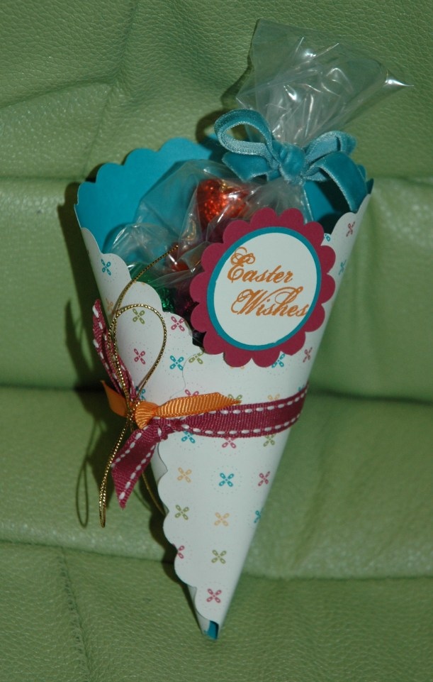 5. Fill a little cellophane bag with some small easter eggs - tie with a pretty bow & slip into the cone!