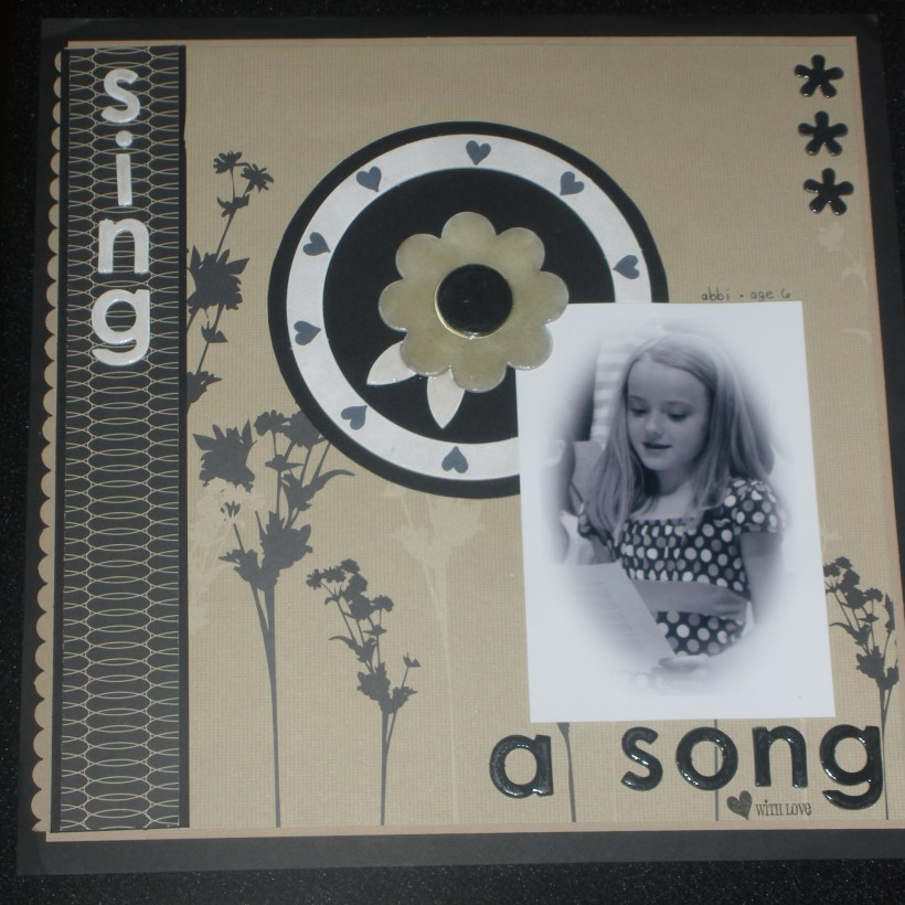 """My favourite! Background paper is more """"Urban Oasis"""". Lots of Crystal Effects ... On Board (chipboard centre flower & letters) ... MMMmmm love the muted colours!"""