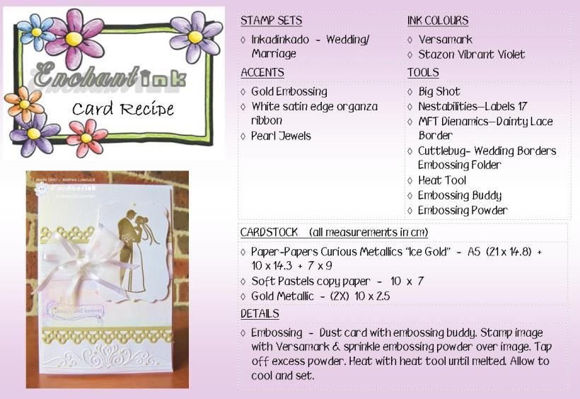 Inkadinkado Wedding - S&M'12 recipe