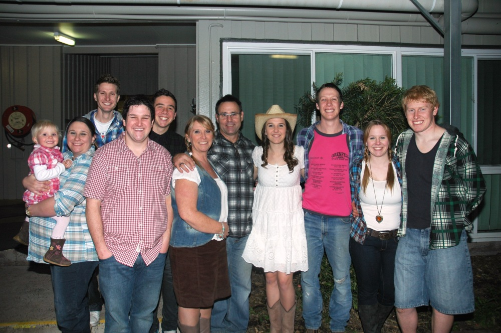 July '13 ... Skye's 21st Party (Country Dance) LtoR ... Bree, Stace, Jono, Shane, Sandy, ME, Gav, Skye, Mitch, Sheree & Murray! Baby Seth was born 1 mth later.